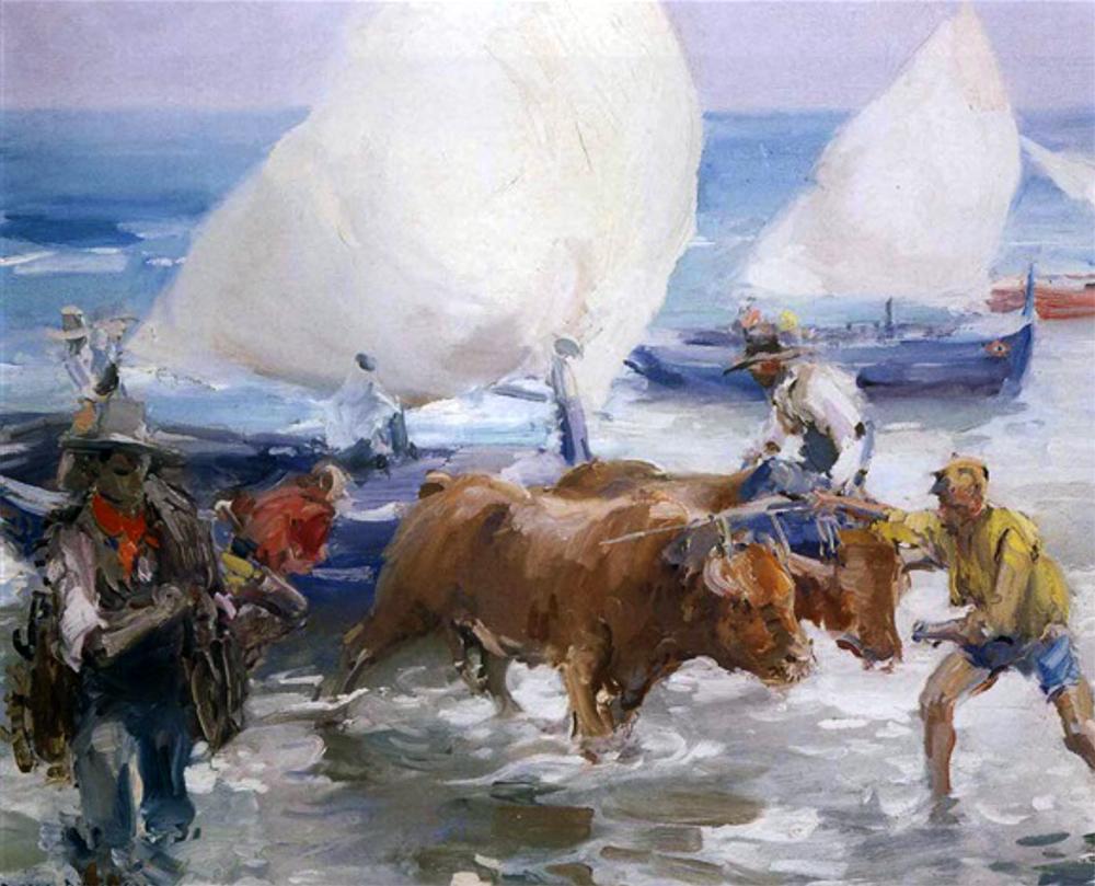 Sacando la barca, playa de El Palo, Málaga